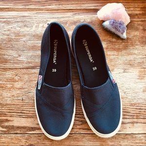 Superga—Slip On Cotton Canvas Sneakers, Navy Blue